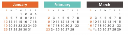 calendar jan-march 2014