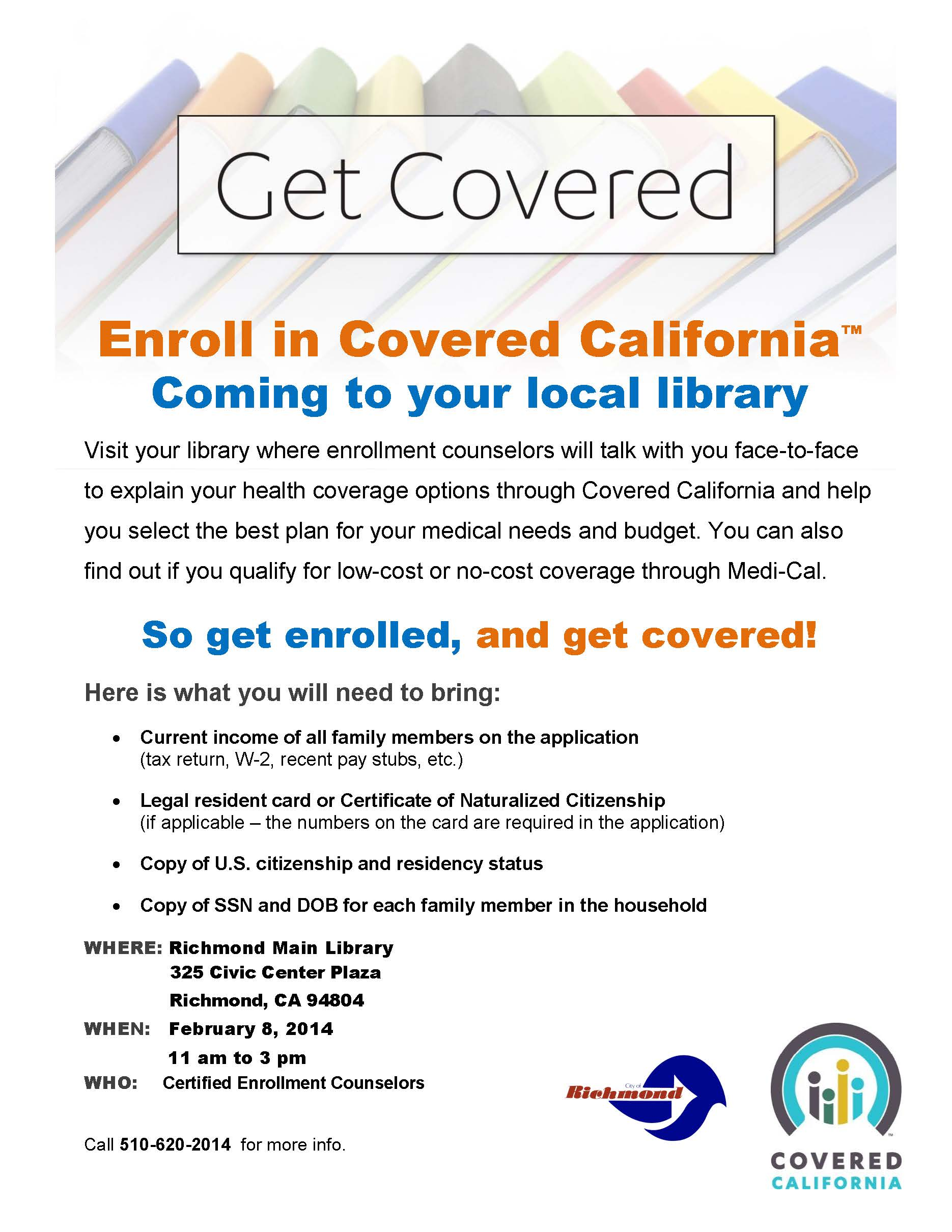 Get Covered – Enroll in Covered California – Richmond Main Library